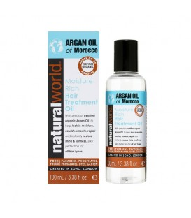 MOROCCAN ARGAN OIL MOISTURE RICH HAIR TREATMENT OIL 100ML NATURAL WORLD