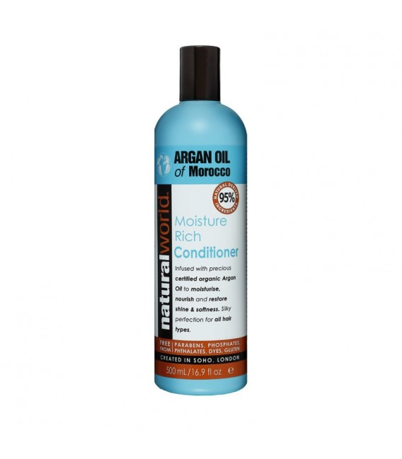 MOROCCAN ARGAN OIL MOISTURE RICH CONDITIONER 500ML NATURAL WORLD